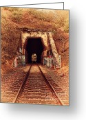 Old Postcards Greeting Cards - Train Tunnel At The Muir Trestle in Martinez California . 7D10220 Greeting Card by Wingsdomain Art and Photography