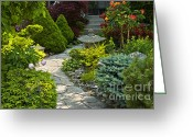 Garden Pathway Greeting Cards - Tranquil garden  Greeting Card by Elena Elisseeva
