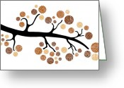 Drawn Greeting Cards - Tree Branch Greeting Card by Frank Tschakert