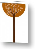 Brown Drawings Greeting Cards - Tree Greeting Card by Frank Tschakert
