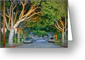 Signed Greeting Cards - Tree Lined Street Greeting Card by Chuck Staley