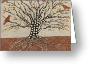Shaman Greeting Cards - tree of Life Greeting Card by Sophy White