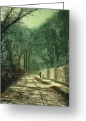 Country Lane Greeting Cards - Tree Shadows in the Park Wall Greeting Card by John Atkinson Grimshaw