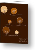 Tree Drawings Greeting Cards - Trees Greeting Card by Frank Tschakert