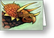 Dinosaur Greeting Cards - Triceratops Greeting Card by Kevin Middleton