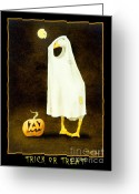 Trick Painting Greeting Cards - Trick or Treat... Greeting Card by Will Bullas