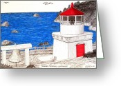 Historic Lighthouse Drawings Greeting Cards - Trinidad Memorial Lighthouse Greeting Card by Frederic Kohli