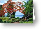 Caballo Greeting Cards - Tropical Landscape Greeting Card by Luis F Rodriguez