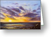  Originals Greeting Cards - Tropical Sunset Greeting Card by Gina De Gorna