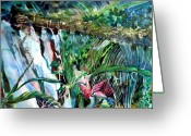 Mystical Drawings Greeting Cards - Tropical Waterfall Greeting Card by Mindy Newman