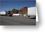 Blacktop Greeting Cards - Truck Stop Greeting Card by Frank Romeo