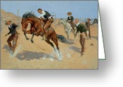 Rancher Greeting Cards - Turn Him Loose Greeting Card by Frederic Remington