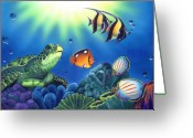 Blue Green Water Greeting Cards - Turtle Dreams Greeting Card by Angie Hamlin