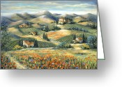 Europe Painting Greeting Cards - Tuscan Villa and Poppies Greeting Card by Marilyn Dunlap