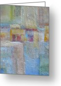 Grid Mixed Media Greeting Cards - Tuscan Wall Greeting Card by Peg Bachenheimer