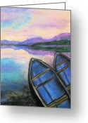 Blues Pastels Greeting Cards - Twilight at Rest Greeting Card by Judy Via-Wolff