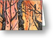Bright Tapestries - Textiles Greeting Cards - Twisted Trees Greeting Card by Katina Cote
