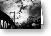 Black-and-white Photographs Greeting Cards - Two Bridges One Moon Greeting Card by Wingsdomain Art and Photography