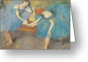 Stretch Pastels Greeting Cards - Two Dancers at Rest Greeting Card by Edgar Degas