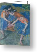 Tutus Pastels Greeting Cards - Two Dancers Greeting Card by Edgar Degas