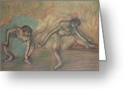 Stretch Pastels Greeting Cards - Two Dancers Resting Greeting Card by Edgar Degas