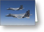 Two By Two Greeting Cards - Two F-15 Eagles Conduct Air-to-air Greeting Card by HIGH-G Productions