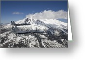 Air-to-air Greeting Cards - Two F-15 Eagles Fly Past Snow Capped Greeting Card by HIGH-G Productions