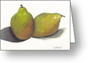 Two Pears Greeting Cards - Two green pears Greeting Card by Lea Velasquez
