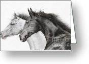 Cowboy Sketches Greeting Cards - Two Horses Greeting Card by Jack Schilder