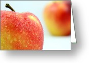 Food And Beverage Digital Art Greeting Cards - Two red gala apples Greeting Card by Mingqi Ge