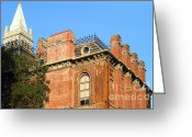 Brick Schools Greeting Cards - UC Berkeley . South Hall . Oldest Building At UC Berkeley . Built 1873 . The Campanile in The Back Greeting Card by Wingsdomain Art and Photography