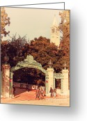Old Postcards Greeting Cards - UC Berkeley . Sproul Plaza . Sather Gate and Sather Tower Campanile . 7D10027 Greeting Card by Wingsdomain Art and Photography