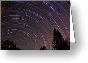 Startrail Greeting Cards - Under the Stars Greeting Card by Francesco Nadalini