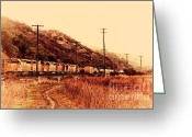 Old Postcards Greeting Cards - Union Pacific Locomotive Trains . 7D10558 Greeting Card by Wingsdomain Art and Photography
