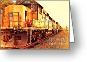 Old Postcards Greeting Cards - Union Pacific Locomotive Trains . 7D10588 Greeting Card by Wingsdomain Art and Photography