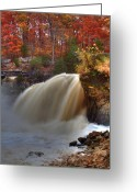 Indiana Autumn Greeting Cards - Upper Cataract Falls Greeting Card by Jeff VanDyke