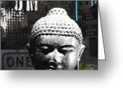 Urban Mixed Media Greeting Cards - Urban Buddha  Greeting Card by Linda Woods