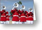 Tuba Greeting Cards - U.s. Marine Corps Drum And Bugle Corps Greeting Card by Stocktrek Images
