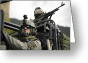 Special Weapons Greeting Cards - U.s. Special Forces On Patrol Greeting Card by Tom Weber