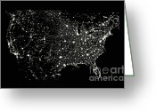 Outerspace Greeting Cards - Usa At Night Greeting Card by Science Source