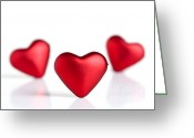 Amor Photo Greeting Cards - Valentine hearts Greeting Card by Kati Molin