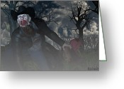 Cowboy Digital Art Greeting Cards - Vampire Cowboy Greeting Card by Michael Stowers