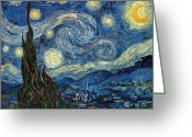 1889 Greeting Cards - Van Gogh Starry Night Greeting Card by Granger