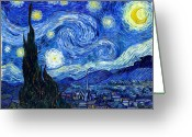Art Education Greeting Cards - Van Gogh Starry Night Greeting Card by Vincent Van Gogh
