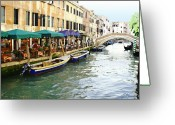 Europe Painting Greeting Cards - Venetian Cafes Greeting Card by Ellen Henneke