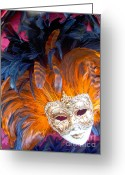 Exceptional City Greeting Cards - Venetian Face Mask Greeting Card by Heiko Koehrer-Wagner