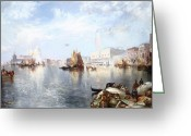 Masterpiece Painting Greeting Cards - Venetian Grand Canal Greeting Card by Thomas Moran