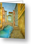 Foot Bridge Greeting Cards - Venezia Greeting Card by Pamela Allegretto
