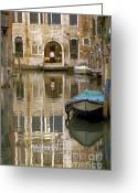 Reflections In Water Greeting Cards - Venice Restaurant on a Canal  Greeting Card by Gordon Wood
