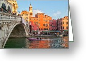 Venetian Architecture Greeting Cards - Venice Rialto Bridge Greeting Card by Heiko Koehrer-Wagner